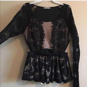 long sleeved laced black & nude blouse